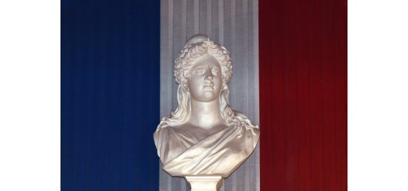 ARTS OF FRANCE - FRANCE2014-POLITICS-MARIANNE-FEATURE  One of the French Republic symbols, a sculpture of the bust of Marianne, is pictured at the city hall, on April 4, 2014, in Toulouse, southwestern France. AFP PHOTO/