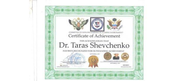Dr Taras Schevchenco -  Kiev, Ukraine  - CEO & Founder  of World Peace Mission and Human Rights Academy C.E.O & Founder