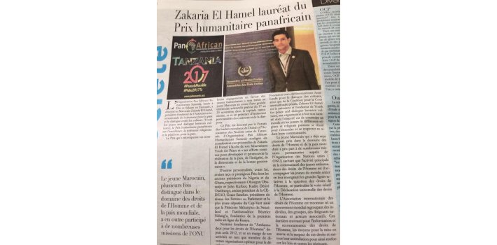 Zakaria El hamel  DIRECTOR OF THE BRANCH OF PACIFIST JOURNAL IN MOROCCO - Press Release  Ambassador of Youth for Human Rights International in MoroccoZakaria El hamel elected as Deputy Chairperson, North Africa Sub region, AYUC