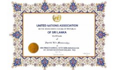Hrh PRINCE BRIGADIER General Royal Ambassador Datoseri Dr Bahman Mehrpour is  (( Special Life Member Overseas of United Nations Association of Sri Lanka )) And CANDIDATED for French peace