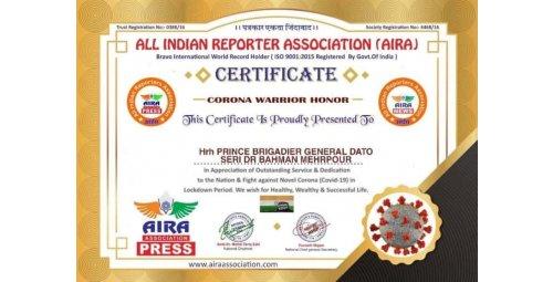 Hrh Prince Brigadier General Dato Seri Dr Bahman Mehrpour received certificate BCZ for your help against Corona virus