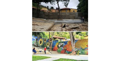 Venezuelan artist creates mural with 200,000 plastic caps