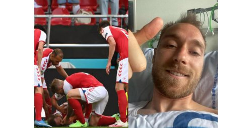 Player  Denmark who had a sudden illness on the field improves and thanks