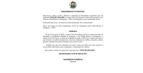 WPO RECEBE MOÇÃO DE APLAUSOS DA ASSEMBLÉIA LEGISLATIVO DO ESTADO DE PERNAMBUCO